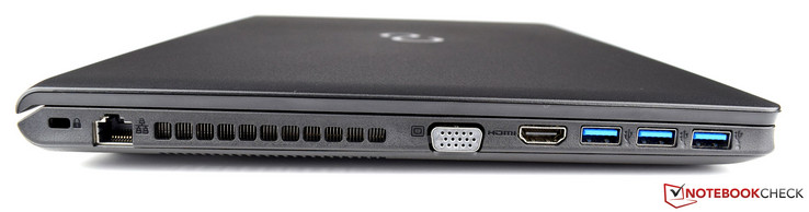 Left: Kensington Security Slot, Ethernet (RJ-45), air vents, VGA, HDMI, 3x USB 3.0