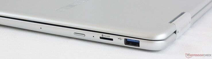 Right: Power button, MicroSD slot, USB 3.0 Type-A