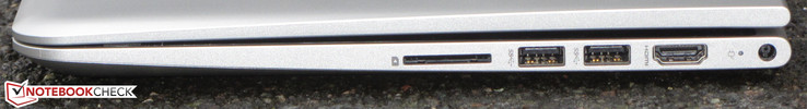 Right side: SD card reader, 2x USB 3.0 (Type-A), HDMI, charging port