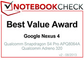 Best Value Award in August 2013: Google Nexus 4