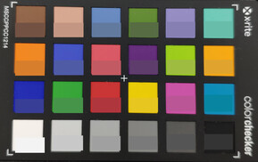 ColorChecker colors; reference color in the bottom half of each square.
